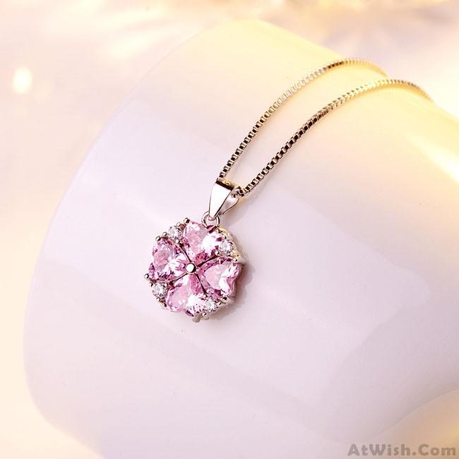Fashion Love Heart Shape Crystal Pendant Necklace Valentine Gift .
