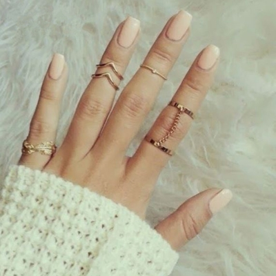 Fashion Casual 6 Pieces Alloy Leaf Circle Round Finger Rings .