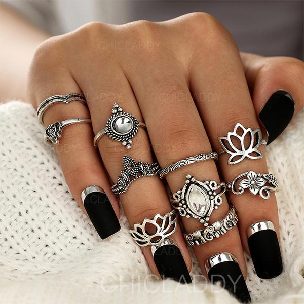 Fashionable Alloy Acrylic With Acrylic Women's Fashion Rings (Set .