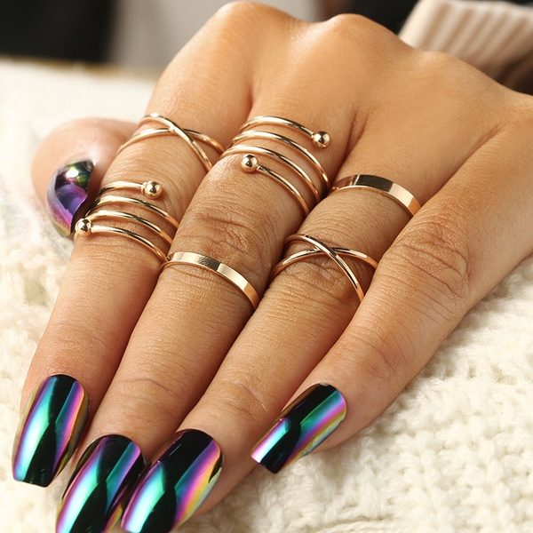 New Fashion 6 Pcs Round Rings Set Midi Finger Ring Set for Women .