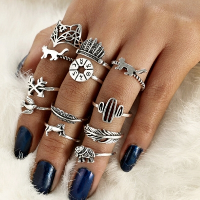 Fashion 12 Pieces Leaf Feather Round Finger Rings Multiple Sets Of .