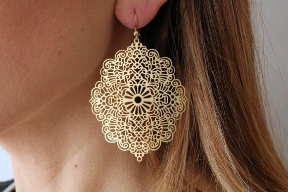 Filigree earrings huge Persian earrings raw brass big | Et