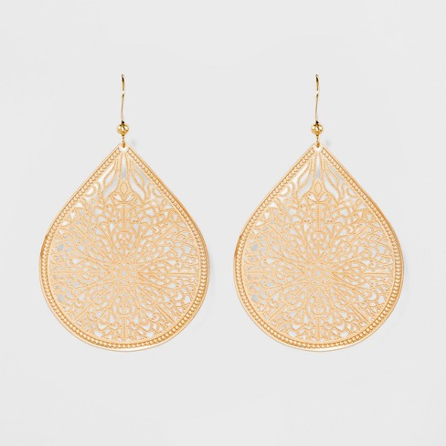 Women's Fashion Earring Filigree - A New Day™ Gold : Targ