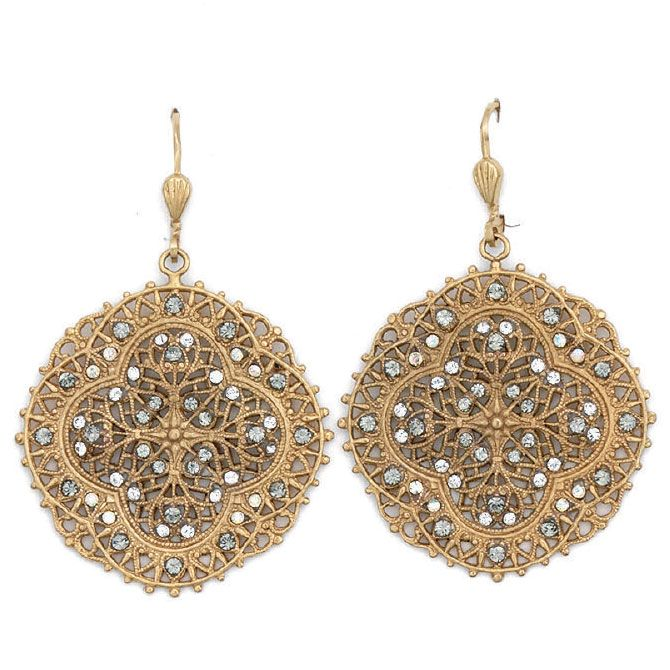 Crystal and Gold or Silver Filigree Earrings - Catherine Popes