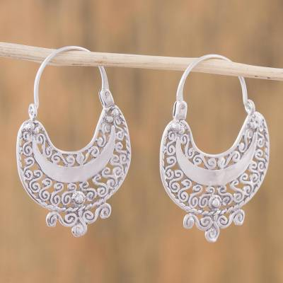 Sterling Silver Filigree Earrings from Mexico - Curlicue | NOVI