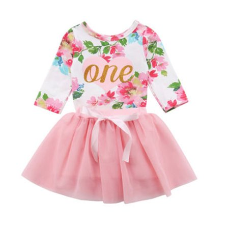 Gaono - Baby Girls 1st Birthday Outfits Long Sleeve Floral Romper .