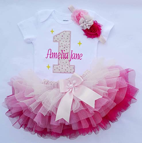 Amazon.com: First birthday Girl outfit,Girls Cake Smash Outfit .