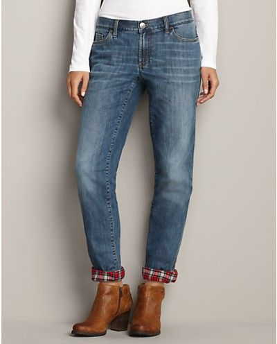 Flannel lined Boyfriend Jeans from Eddie Bauer!! For keeping warm .