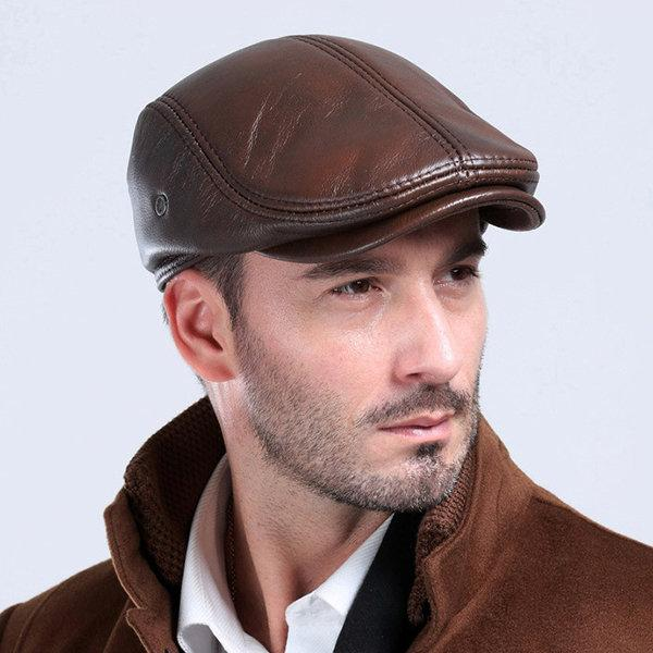 Men Classic Genuine Cowhide With Ear Flaps Beret Hats Casual Flat .