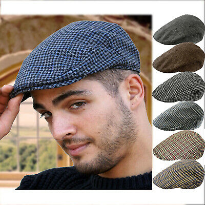 MENS TWEED CHECK VINTAGE HERRINGBONE WOOL MIX FLAT CAP GATSBY .
