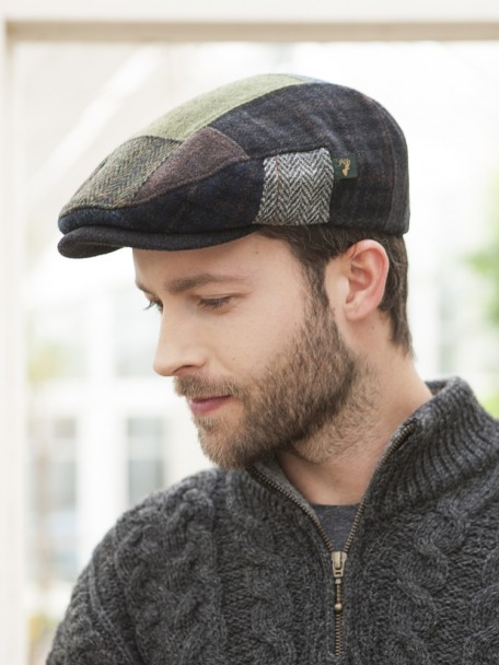 Mens Patchwork Wool Flat Cap | The Sweater Shop, Irela