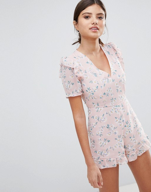 PrettyLittleThing Ruffle Hem Floral Playsuit | AS