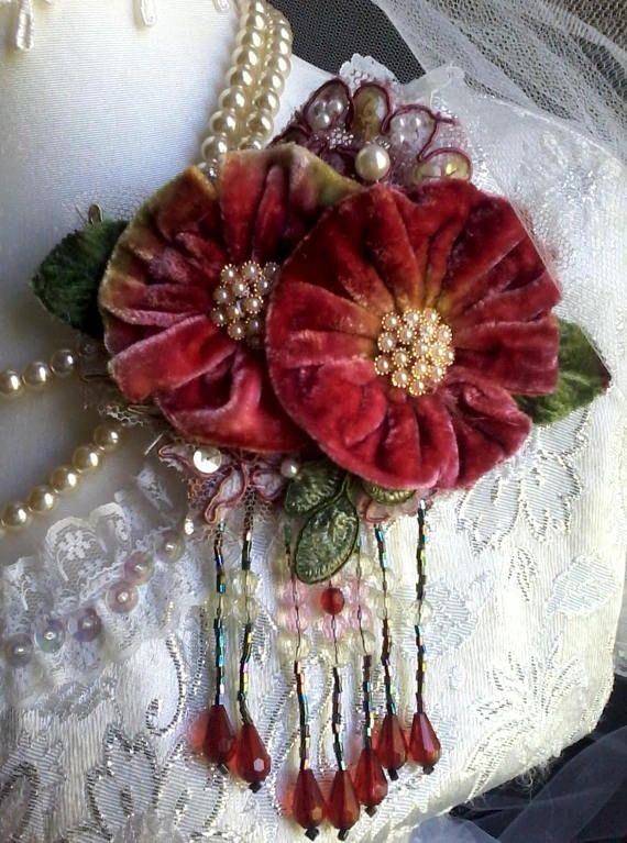 Hand dyed shabby velvet brooch, handmade flower brooch, velvet .