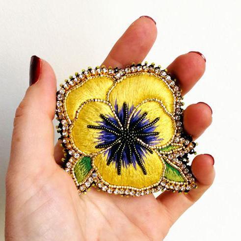 Pansy Flower Brooch – Gold B
