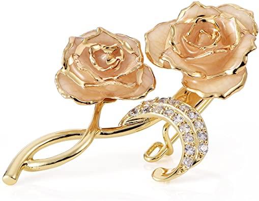 Amazon.com: ZJchao Beige Yellow Rose Floral Bouquet Brooch Pins .