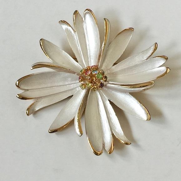Vintage Jewelry | Vtg Park Lane Enamel Rhinestones Flower Brooch .