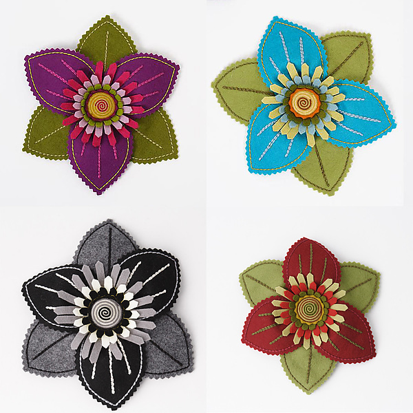 Trillium Felt Flower Brooch by Renee Roeder-Earley (Felt Brooch .