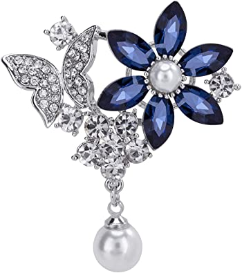 Amazon.com: VVANT Flower Brooches for Women Crystal Sliver with .