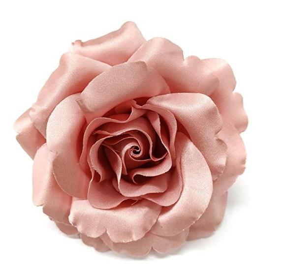 3.5″ Pink Satin Rose Flower Brooch Pin – M&S Schmalbe
