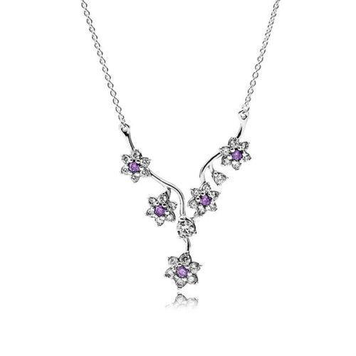Authentic PANDORA 925 Silver Necklace Forget Me Not Flower Purple .