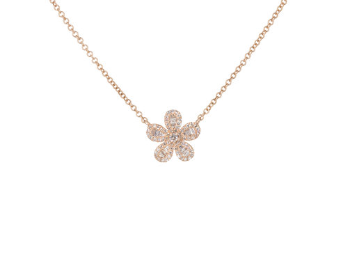 14KT Rose Gold Diamond and Baguette Flower Necklace — Andrea .