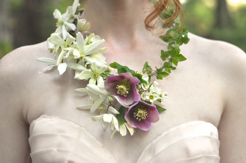 real flower necklace, seattle event designer, finch and thistle .