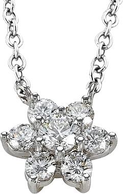 18k White Gold .87ct Diamond Flower Necklace SCSN8