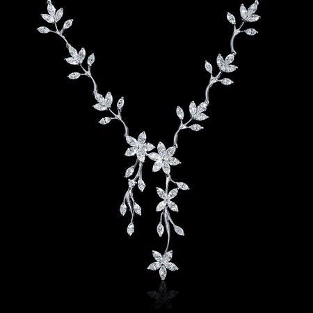 7.30ct Diamond 18k White Gold Flower Neckla