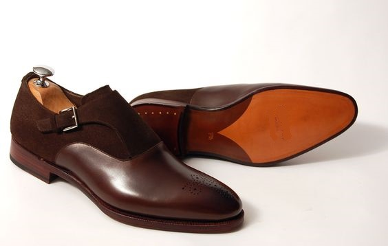 Handmade Men Brown Formal Shoes, Men Brown Suede And Leather Dress .