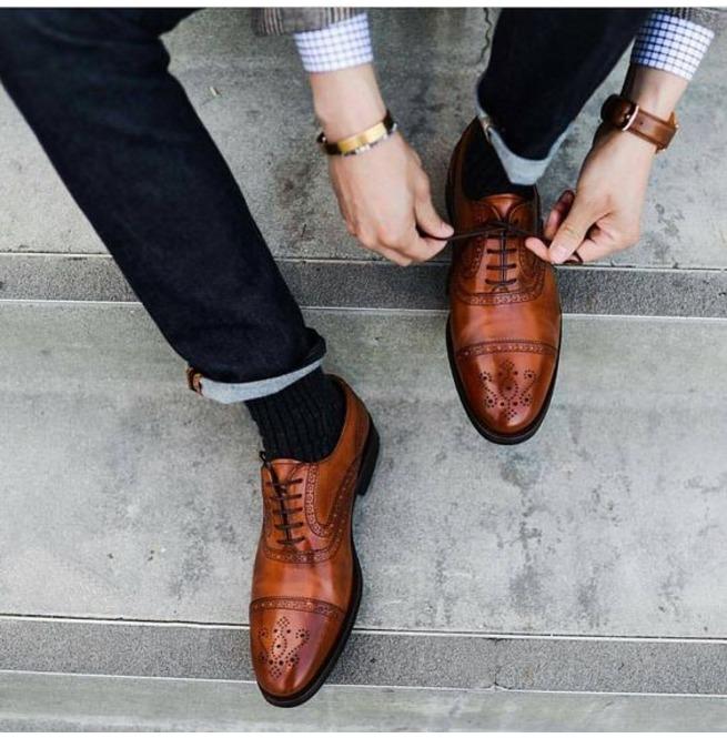 Handmade Men Brown Oxford Formal Shoes Brogue Dress | RebelsMark