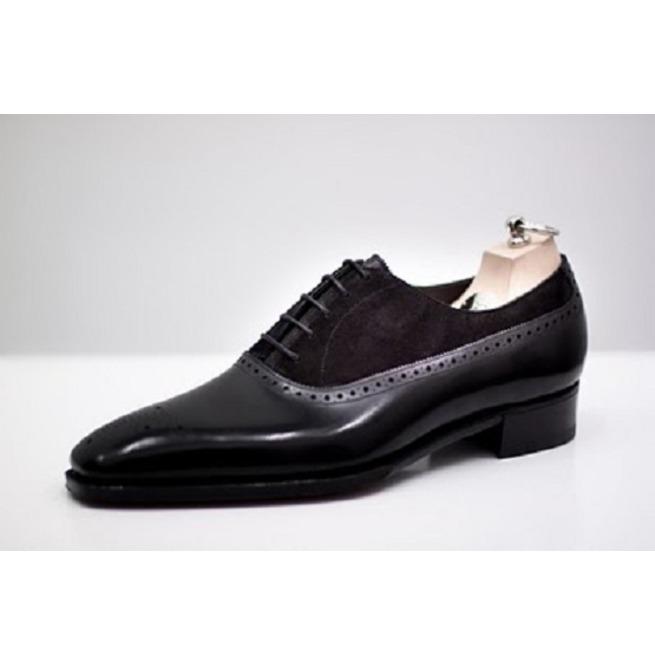 Handmade Men Black Suede And Leather Formal Shoes, | RebelsMark