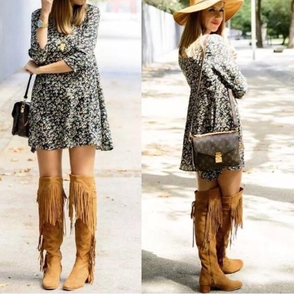 Zara Shoes | Premium Leather Over The Knee Fringe Boot | Poshma