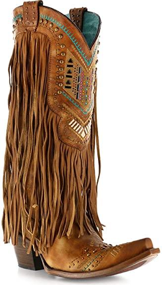 Amazon.com | Corral Women's Honey Crystal Pattern Fringe Boot .