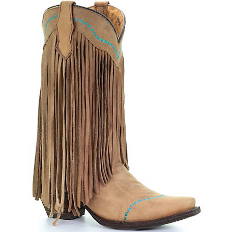 Corral Youth Tan/Turquoise Fringe Boot at Tractor Supply C