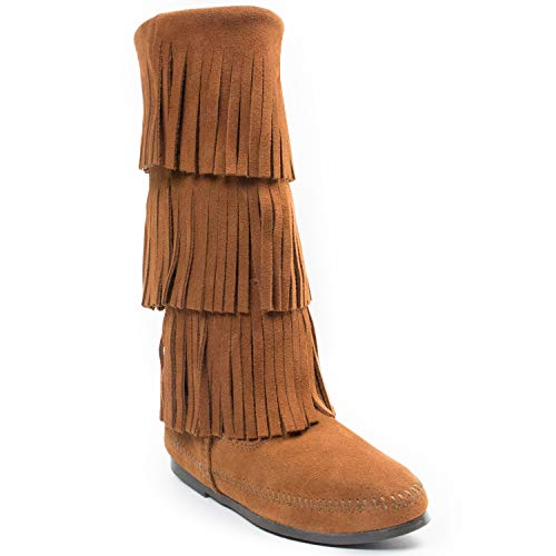 Best Price Minnetonka Women's 3-Layer Fringe Boot,Brown,8 M US .
