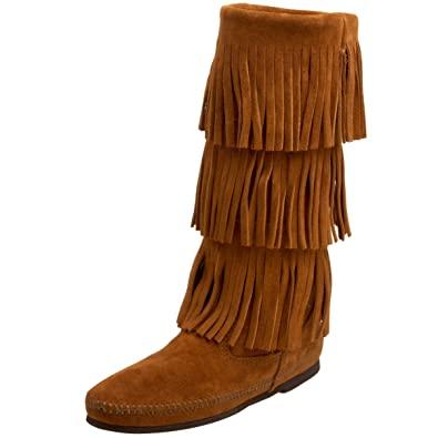 Buy Minnetonka Women's 3-Layer Fringe Boot Brown 10 B(M) US at .