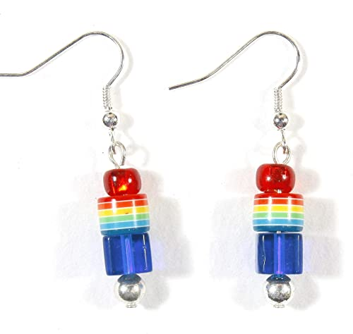 "Amazon.com: ""Fun and Games"" Red and Blue Rainbow Funky Earrings ."
