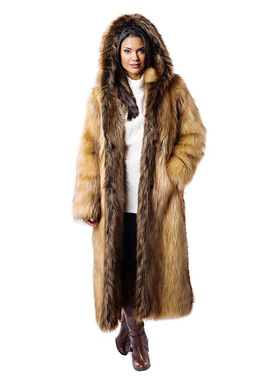 Full-Length Red Fox Faux Fur Hooded Coat | Faux Fur Coa