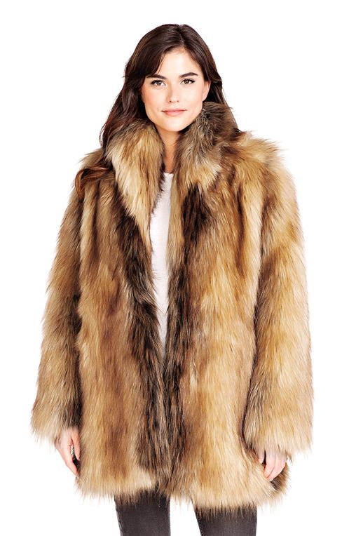 Red Fox Shawl Collar Faux Fur Jacket | Faux Fur Shaw