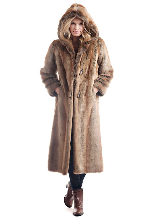 Coyote Hooded Full-Length Faux Fur Coat | Womens Faux Fur Coats .