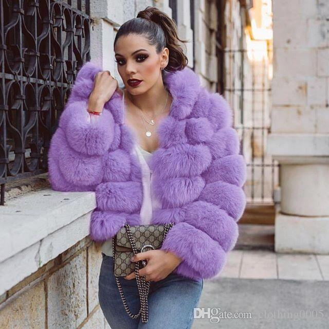 2020 Winter Luxury Faux Fox Fur Coat Slim Pink Purple Faux Fur .