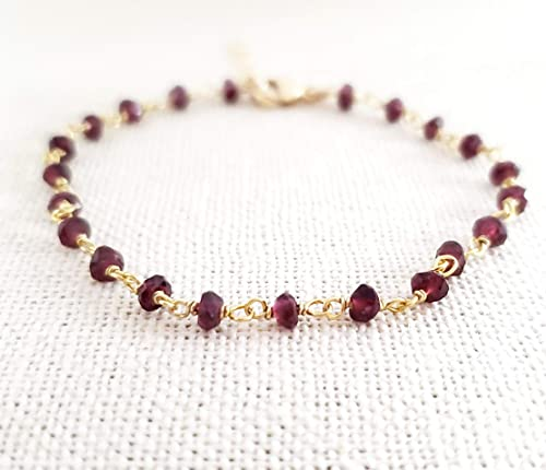 Amazon.com: Garnet Bracelet - Gemstone Jewelry - Wire Wrapped .
