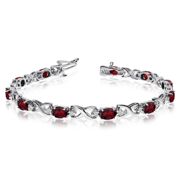 14k White Gold Natural Garnet And Diamond Tennis Bracelet .