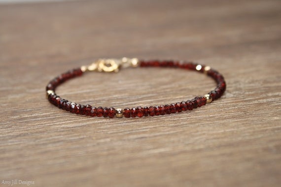 Garnet Bracelet Garnet Jewelry January Birthstone Gold | Et