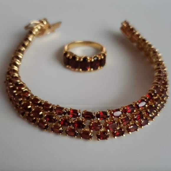 Jewelry | Vintage Garnet Bracelet And Ring Set | Poshma