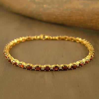 UNICEF Market | Gold Plated with Garnet Bracelet from India .