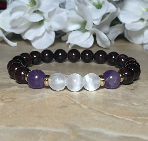 Amazon.com: Womens Selenite Bracelet, Amethyst Bracelet, Garnet .