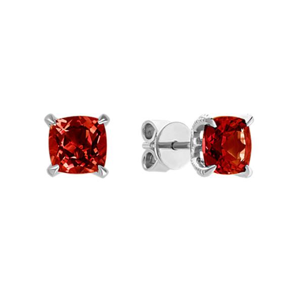 Cushion Cut Red Garnet Earrings | Shane C