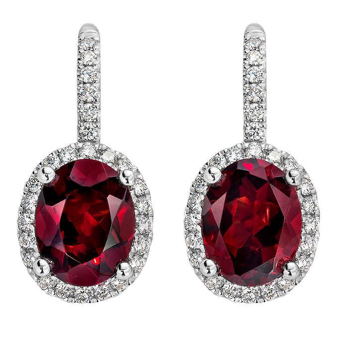 Garnet and Diamond 14kt White Gold Earrin