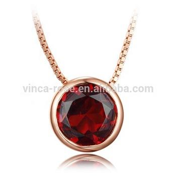 garnet necklace 18k pink gold plated simple design 925 silver .